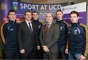18 February 2013; At the announcement of the Grant Thornton UCD Gaelic Football Scholarships, in memory of the late Sean Murray, are Grant Thornton Director Noel Delaney, third from right, Dominic O'Keeffe, second from left, Director of Student Services UCD, with the scholarship recipients, from left, Padraig Harnan, Luke Keaney, Paul Mannian and Niall Kilroy. Sports Centre, UCD, Belfield, Dublin. Picture credit: David Maher / SPORTSFILE