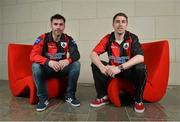 21 February 2013; Longford Town FC's Keith Gillespie, left, and Mark Salmon after a press conference where City Calling Group were announced as new sponsors of their home ground. Flancare Park will now be called the City Calling Stadium. Longford Town FC Press Conference. The Gibson Hotel, Dublin. Picture credit: Barry Cregg / SPORTSFILE
