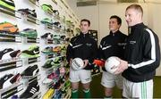 26 February 2013; In attendance at the launch of the new website www.gaelicboots.com, by the GAA and the GPA, are players, from left to right, Patrick McBrearty, Donegal, Cillian O'Connor, Mayo, and Ciaran Kilkenny, Dublin. Croke Park, Dublin. Picture credit: David Maher / SPORTSFILE