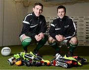 26 February 2013; In attendance at the launch of the new website www.gaelicboots.com, by the GAA and the GPA, are players Patrick McBrearty, Donegal, left, and Cillian O'Connor, Mayo. Croke Park, Dublin. Picture credit: David Maher / SPORTSFILE