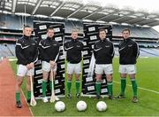26 February 2013; In attendance at the launch of the new website www.gaelicboots.com, by the GAA and the GPA, are players, from left to right, Lee Chin, Wexford, Padraic Maher, Tipperary, Ciaran Kilkenny, Dublin, Cillian O'Connor, Mayo, and Patrick McBrearty, Donegal. Croke Park, Dublin. Picture credit: David Maher / SPORTSFILE