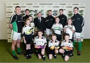 26 February 2013; In attendance at the launch of the new website www.gaelicboots.com, by the GAA and the GPA, are Uachtarán Chumann Lúthchleas Gael Liam Ó Néill, with players, from left to right, Lee Chin, Wexford, Cillian O'Connor, Mayo, Ciaran Kilkenny, Dublin, Padraic Maher, Tipperary, and Patrick McBrearty, Donegal, with children, from Holy Cross Boys, and Girls National School, Ardoyne, Belfast, from left to right, Ailisa Frame, Tammy Largey, Matthew McCaffrey, Fionntan McFarlane, Gary Duffy, Josephh Gibson and Brooklyn O'Hare. Croke Park, Dublin. Picture credit: David Maher / SPORTSFILE