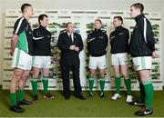 26 February 2013; In attendance at the launch of the new website www.gaelicboots.com, by the GAA and the GPA, are Uachtarán Chumann Lúthchleas Gael Liam Ó Néill, with players, from left to right, Lee Chin, Wexford, Cillian O'Connor, Mayo, Ciaran Kilkenny, Dublin, Padraic Maher, Tipperary, and Patrick McBrearty, Donegal. Croke Park, Dublin. Picture credit: David Maher / SPORTSFILE