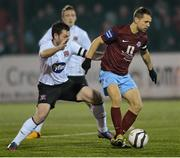 1 March 2013; Declan O'Brien, Drogheda United, in action against Mark Rossiter, Dundalk. Jim Malone Perpetual Trophy, Dundalk v Drogheda United, Oriel Park, Dundalk, Co. Louth. Picture credit: Paul Mohan / SPORTSFILE
