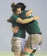 8 March 2013; Ireland's Alison Miller, left, and Marie Louise Reilly celebrate at the final whistle. Women's Six Nations Rugby Championship, Ireland v France, Ashbourne RFC, Ashbourne, Co. Meath. Picture credit: Brendan Moran / SPORTSFILE