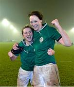 8 March 2013; Ireland's Siobhan Fleming, left, and Marie Louise Reilly celebrate victory over France. Women's Six Nations Rugby Championship, Ireland v France, Ashbourne RFC, Ashbourne, Co. Meath. Picture credit: Brendan Moran / SPORTSFILE