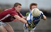10 March 2013; Cahir Healy, Laois, in action against Ger Egan, Westmeath. Allianz Football League, Division 2, Westmeath v Laois, Cusack Park, Mullingar, Co. Westmeath. Picture credit: Brendan Moran / SPORTSFILE
