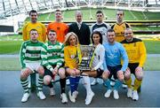 11 March 2013; At a photocall in advance of the quarter-finals of the FAI Junior Cup with Aviva and Umbro on Saturday 23rd and Sunday 24th of March are Kenny Cunningham, FAI Junior Cup Ambassador, models Nicola Hughes and Adrienne Murphy with competing players, back row from left, Mark Keane, Carew Park, Limerick, Paddy Brophy, St Kevin's Boys FC, Dublin, Gavin Pender, Pearse Celtic, Cork, and Peter Keighery, Ballinasloe Town FC, with front row, from left, Pat Mullins, Pike Rovers, Limerick, Lee Murphy, Sheriff YC, Dublin, John Meleady, Kilbarrack United, Dublin and David Conroy, Ballymun United, Dublin. Photocall ahead of FAI Junior Cup Quarter-Final with Aviva and Umbro, Aviva Stadium, Lansdowne Road, Dublin. Picture credit: Brendan Moran / SPORTSFILE