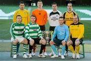11 March 2013; At a photocall in advance of the quarter-finals of the FAI Junior Cup with Aviva and Umbro on Saturday 23rd and Sunday 24th of March are competing players, back row from left, Mark Keane, Carew Park, Limerick, Paddy Brophy, St Kevin's Boys FC, Dublin, Gavin Pender, Pearse Celtic, Cork, and Peter Keighery, Ballinasloe Town FC, with front row, from left, Pat Mullins, Pike Rovers, Limerick, Lee Murphy, Sheriff YC, Dublin, John Meleady, Kilbarrack United, Dublin and David Conroy, Ballymun United, Dublin. Photocall ahead of FAI Junior Cup Quarter-Final with Aviva and Umbro, Aviva Stadium, Lansdowne Road, Dublin. Picture credit: Brendan Moran / SPORTSFILE