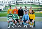 11 March 2013; At a photocall in advance of the quarter-finals of the FAI Junior Cup with Aviva and Umbro on Saturday 23rd and Sunday 24th of March are Kenny Cunningham, FAI Junior Cup Ambassado with competing players, back row from left, Mark Keane, Carew Park, Limerick, Paddy Brophy, St Kevin's Boys FC, Dublin, Gavin Pender, Pearse Celtic, Cork, and Peter Keighery, Ballinasloe Town FC, with front row, from left, Pat Mullins, Pike Rovers, Limerick, Lee Murphy, Sheriff YC, Dublin, John Meleady, Kilbarrack United, Dublin and David Conroy, Ballymun United, Dublin. Photocall ahead of FAI Junior Cup Quarter-Final with Aviva and Umbro, Aviva Stadium, Lansdowne Road, Dublin. Picture credit: Brendan Moran / SPORTSFILE