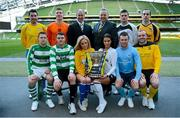 11 March 2013; At a photocall in advance of the quarter-finals of the FAI Junior Cup with Aviva and Umbro on Saturday 23rd and Sunday 24th of March are Kenny Cunningham, FAI Junior Cup Ambassador, Paul Grimes, Ireland Branch Manager, General Insurance, Aviva, and models Nicola Hughes and Adrienne Murphy with competing players, back row from left, Mark Keane, Carew Park, Limerick, Paddy Brophy, St Kevin's Boys FC, Dublin, Gavin Pender, Pearse Celtic, Cork, and Peter Keighery, Ballinasloe Town FC, with front row, from left, Pat Mullins, Pike Rovers, Limerick, Lee Murphy, Sheriff YC, Dublin, John Meleady, Kilbarrack United, Dublin and David Conroy, Ballymun United, Dublin. Photocall ahead of FAI Junior Cup Quarter-Final with Aviva and Umbro, Aviva Stadium, Lansdowne Road, Dublin. Picture credit: Brendan Moran / SPORTSFILE