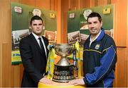 11 March 2013; At the quarter-final draw for the FAI Junior Cup with Aviva and Umbro, which take place on Saturday 23rd and Sunday 24th of March, are Gavin Pender, Pearse celtic FC, Cork, and Mark Keane, Carew Park FC, Limerick, who meet in the quarter-final. Aviva Umbro FAI Junior Cup Quarter-Finals Photocall, Aviva Stadium, Lansdowne Road, Dublin. Picture credit: Brendan Moran / SPORTSFILE