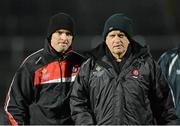 9 March 2013; Derry manager Brian McIver, right, and assistant manager Paddy Tally. Allianz Football League, Division 2, Derry v Armagh, Celtic Park, Derry. Picture credit: Oliver McVeigh / SPORTSFILE
