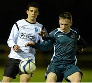 13 March 2013; Jordan Conroy, Dublin IT, in action against Robert Gaul, Dublin City University. UMBRO CUFL Premier Final, Dublin City University v Dublin IT, Frank Cooke Park, Tolka Rovers FC, Dublin. Picture credit: David Maher / SPORTSFILE