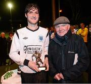 13 March 2013; Paul Malone, Dublin IT, is presented with the man of the match award by John Hudson. UMBRO CUFL Premier Final, Dublin City University v Dublin IT, Frank Cooke Park, Tolka Rovers FC, Dublin. Picture credit: David Maher / SPORTSFILE