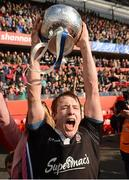 18 March 2013; Crescent College Comprehensive captain Gearoid Lyons lifts the cup after victory over Rockwell College. Munster Schools Senior Cup Final, Crescent College Comprehensive v Rockwell College, Thomond Park, Limerick. Picture credit: Diarmuid Greene / SPORTSFILE