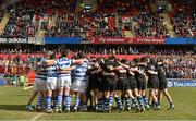 18 March 2013; The Rockwell College and Crescent College Comprehensive teams gather together in their pre-match huddles. Munster Schools Senior Cup Final, Crescent College Comprehensive v Rockwell College, Thomond Park, Limerick. Picture credit: Diarmuid Greene / SPORTSFILE