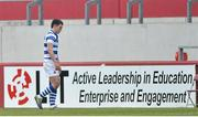 18 March 2013; Steven McMahon, Rockwell College, leaves the pitch after being shown a red card by referee Kieran Barry. Munster Schools Senior Cup Final, Crescent College Comprehensive v Rockwell College, Thomond Park, Limerick. Picture credit: Diarmuid Greene / SPORTSFILE