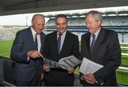 31 October 2017; Feargal McGill, GAA director of club player and games development, with George Cartwright, Chairman of the C.C.C.C., left, and Ard Stiúrthoir, Paraic Duffy during the GAA Fixtures Master Plan 2018 announcement at Croke Park, in Dublin. Photo by Eóin Noonan/Sportsfile