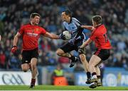 23 March 2013; Denis Bastick, Dublin, in action against Peter Turley, left, and Paul McComiskey, Down. Allianz Football League, Division 1, Dublin v Down, Croke Park, Dublin. Picture credit: Daire Brennan / SPORTSFILE