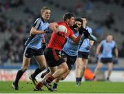 23 March 2013; Peter Turley, Down, in action against Paul Mannion, left, and Cian O'Sullivan, Dublin. Allianz Football League, Division 1, Dublin v Down, Croke Park, Dublin. Picture credit: Daire Brennan / SPORTSFILE