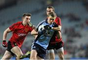 23 March 2013; Paul Mannion, Dublin, in action against Ryan Boyle, left, and Conor Laverty, Down. Allianz Football League, Division 1, Dublin v Down, Croke Park, Dublin. Picture credit: Daire Brennan / SPORTSFILE