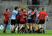 23 March 2013; Dublin and Down players involved in a scuffle in the second half. Allianz Football League, Division 1, Dublin v Down, Croke Park, Dublin. Picture credit: Daire Brennan / SPORTSFILE