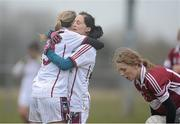 24 March 2013; Catriona Cormican, left, and Ger Conneely, Galway, celebrate after the match. TESCO HomeGrown Ladies National Football League, Division 2, Round 5, Westmeath v Galway, Kinnegad, Co. Westmeath. Picture credit: Brian Lawless / SPORTSFILE