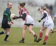 24 March 2013; Ruth Kearney, Westmeath, in action against Caitriona Cormican, Galway. TESCO HomeGrown Ladies National Football League, Division 2, Round 5, Westmeath v Galway, Kinnegad, Co. Westmeath. Picture credit: Brian Lawless / SPORTSFILE