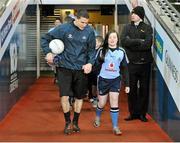 23 March 2013; Dublin captain Stephen Cluxton with team mascot Tara Conlon, aged 10, from Glasnevin, Dublin. Allianz Football League, Division 1, Dublin v Down, Croke Park, Dublin. Picture credit: Daire Brennan / SPORTSFILE