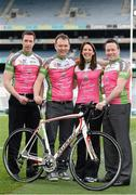 27 March 2013; A host of top GAA and Ladies Gaelic Football stars, along with 2012 World Track Cycling bronze medallist Caroline Ryan, joined forces in Croke Park today to officially launch the Race The Rás charity cycle. This is the third year of the race with almost 150 amateur cyclists and a host of current and former GAA stars lining up to bike across Ireland from May 19th to May 26th. All money raised will go to the National Breast Cancer Research Institute. For more information visit www.racetheras.com. In attendance are, from left, former Dublin footballer Barry Cahill, Race the Rás founder Eamonn O Muircheartaigh, 2012 World Track Cycling bronze medallist Caroline Ryan and former Meath footballer Bernard Flynn. 2013 Race the Rás Charity Cycle Launch, Croke Park, Dublin. Picture credit: Brendan Moran / SPORTSFILE