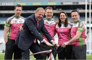 27 March 2013; A host of top GAA and Ladies Gaelic Football stars, along with 2012 World Track Cycling bronze medallist Caroline Ryan, joined forces in Croke Park today to officially launch the Race The Rás charity cycle. This is the third year of the race with almost 150 amateur cyclists and a host of current and former GAA stars lining up to bike across Ireland from May 19th to May 26th. All money raised will go to the National Breast Cancer Research Institute. For more information visit www.racetheras.com. In attendance are, from left, former Dublin footballer Barry Cahill, Professor Michael Kerin, Medical Director, National Breast Cancer Research Institute, Race the Rás founder Eamonn O Muircheartaigh, 2012 World Track Cycling bronze medallist Caroline Ryan and former Meath footballer Bernard Flynn. 2013 Race the Rás Charity Cycle Launch, Croke Park, Dublin. Picture credit: Brendan Moran / SPORTSFILE