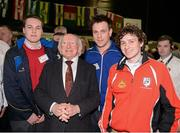 23 March 2013; The President of Ireland Michael D. Higgins with Alan Coyne, Westmeath, Gordon Glynn, Ardrahan, Galway, and Enda Kilcaid, Maryland, Westmeath, at the GAA Annual Congress 2013. The Venue, Limavady Road, Derry. Picture credit: Ray McManus / SPORTSFILE