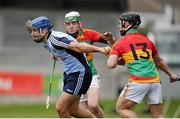 31 March 2013; Stephen Hiney, Dublin, in action against Marty Kavanagh and Peter Shaw, right, Carlow. Allianz Hurling League, Division 1B, Dublin v Carlow, Parnell Park, Dublin. Picture credit: Tomas Greally / SPORTSFILE