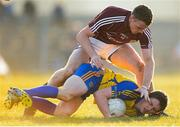 6 April 2013; Colin Compton, Roscommon, in action against Sean Moran, Galway. Cadbury Connacht GAA Football Under 21 Championship Final, Roscommon v Galway, Dr. Hyde Park, Roscommon. Picture credit: Stephen McCarthy / SPORTSFILE