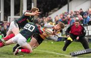 7 April 2013; Matt Evans, Cornish Pirates, is denied a try by Denis Hurley and Danny Barnes, Munster A. British & Irish Cup Quarter-Final, Cornish Pirates v Munster A, The Mennaye Field, Cornwall, England. Picture credit: Dan Mullan / SPORTSFILE