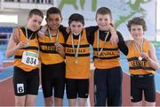 6 April 2013; Winners of the Boy's Under 13's 4x100m Relay Leevale A.C., Co. Cork, from left, Thomas White, Tyrike Wright, Colin Doyle, Conor Corbett and Jamie O'Sullivan. Woodie's DIY AAI Juvenile Indoor Relay Championships, Athlone Institute of Technology Arena, Athlone, Co. Westmeath. Picture credit: Paul Mohan / SPORTSFILE