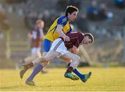 6 April 2013; Paul Varley, Galway, in action against Colin Compton, Roscommon. Cadbury Connacht GAA Football Under 21 Championship Final, Roscommon v Galway, Dr. Hyde Park, Roscommon. Picture credit: Stephen McCarthy / SPORTSFILE