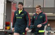 9 April 2013; Munster's James Downey, left, and Danny Barnes make thier way out for squad training ahead of their Celtic League game against Leinster on Saturday. Munster Rugby Squad Training, University of Limerick, Limerick. Picture credit: Diarmuid Greene / SPORTSFILE