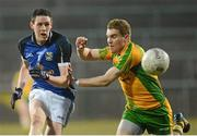 10 April 2013; Michael Argue, Cavan, in action against Luke Keaney, Donegal. Cadbury Ulster GAA Football Under 21 Championship Final, Cavan v Donegal, Brewster Park, Enniskillen, Co. Fermanagh. Picture credit: Oliver McVeigh / SPORTSFILE