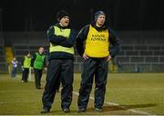 10 April 2013; Peter Reilly, Cavan manager, left, and Joe McCarthy, assistant manager. Cadbury Ulster GAA Football Under 21 Championship Final, Cavan v Donegal, Brewster Park, Enniskillen, Co. Fermanagh. Picture credit: Oliver McVeigh / SPORTSFILE