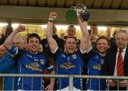 10 April 2013; Cavan captain Feargal Flanagan lifts the Irish News Cup. Cadbury Ulster GAA Football Under 21 Championship Final, Cavan v Donegal, Brewster Park, Enniskillen, Co. Fermanagh. Picture credit: Oliver McVeigh / SPORTSFILE
