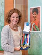 13 April 2013; Former Olympic silver medallist, Double World Cross Country Champion 1998 and World and European 5000m Champion Sonia O'Sullivan with a number of her medals which will be on display in the Pavillion at the opening of the Sonia O'Sullivan Athletics Track. Mardyke Arena, Cork. Picture credit: Brendan Moran / SPORTSFILE
