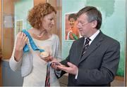 13 April 2013; Former Olympic silver medallist, World Cross Country Champion and European 5000m and 10000m Champion Sonia O'Sullivan and Dr. Michael Murphy, President of UCC, with a number of her medals which will be on display in the Pavillion at the opening of the Sonia O'Sullivan Athletics Track. Mardyke Arena, Cork. Picture credit: Brendan Moran / SPORTSFILE
