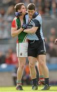 14 April 2013; Diarmuid Connolly, Dublin, and Lee Keegan, Mayo, tussle off the ball. Allianz Football League, Division 1, Semi-Final, Dublin v Mayo, Croke Park, Dublin. Picture credit: Ray McManus / SPORTSFILE