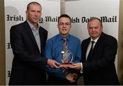 15 April 2013; Alan Coyne accepting the Irish Daily Mail Future Football Champions 2013 award on behalf of Jonny Cooper, DCU/Dublin, and Michael Murphy, DCU/Donegal, from Irish Daily Mail GAA columnist Liam Hayes, left, and Uachtarán Chumann Lúthchleas Gael Liam Ó Néill. Irish Daily Mail Future Champions Awards 2013, Croke Park, Dublin. Picture credit: Paul Mohan / SPORTSFILE