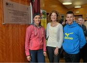 13 April 2013; Athletes Marian and Robert Heffernan with former Olym[pic silver medallist, World Cross Country Champion and European 5000m and 10000m Champion Sonia O'Sullivan at the opening of the Sonia O'Sullivan Athletics Track. Mardyke Arena, Cork. Picture credit: Brendan Moran / SPORTSFILE