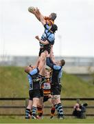 20 April 2013; Willie Earle, Lansdowne, wins possession in a line-out ahead of Sean McCarthy, Shannon. Ulster Bank League, Division 1A, Shannon v Lansdowne, Coonagh, Limerick. Picture credit: Diarmuid Greene / SPORTSFILE