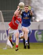 20 April 2013; Conor Madden, Cavan, in action against Damien Cahalane, Cork. Cadbury GAA Football Under 21 All-Ireland Championship, Semi-Final, Cavan v Cork, O'Connor Park, Tullamore, Co. Offaly. Picture credit: Paul Mohan / SPORTSFILE
