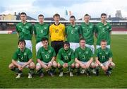 26 April 2013; The Republic of Ireland Schools team, back row, from left, Killian Cantwell, Kevin O'Connor, Shaun Patton, Alan Browne, Gavin Boyne and Patrick Fitzgerlad, with, front row, from left, Alex Byrne, Conor Barry, Kynan Rocks, Sean Coyne and Jack Doherty. Centenary Shield, Republic of Ireland Schools v England Schools, Turner's Cross Stadium, Cork. Picture credit: Stephen McCarthy / SPORTSFILE